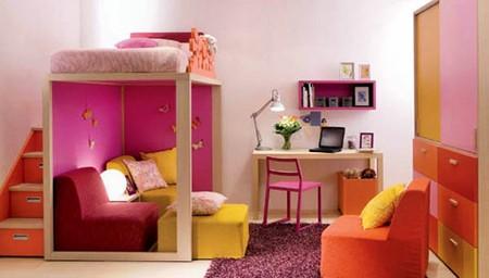 Phối màu phòng ngủ và góc học tập ấn tượng tạo cảm hứng cho việc học.