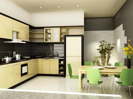 Cây xanh và ánh sáng tự nhiên giúp bầu không khí trong phòng bếp trong lành hơn