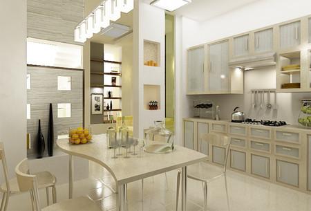 Nhà bếp rộng rãi được bố trí bàn ăn làm nơi cả gia đình sum họp.