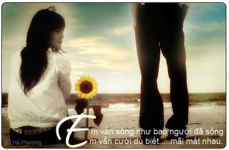 Lúc nào anh buồn và mệt mỏi, anh hãy luôn nhớ rằng vẫn có một người em vẫn luôn bên anh và chia sẻ cùng anh.