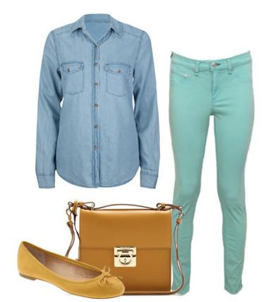 3. Mix với quần jeans màu sắc 1