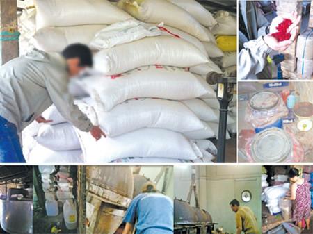 Cảnh chế biến hạt dưa pha phẩm màu công nghiệp và nhớt thải tại các cơ sở ở TPHCM và Tây Ninh.