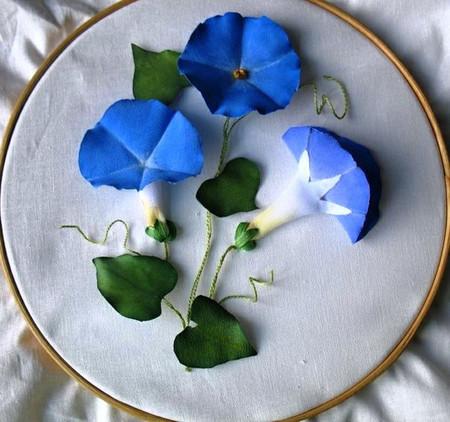 Làm hoa vải asagao gắn tranh treo tường thật độc đáo 1