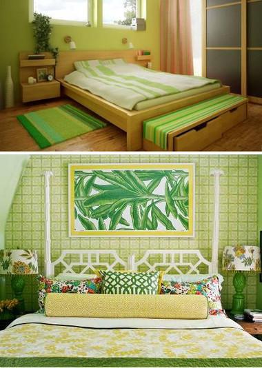 Chọn gam màu xanh nhạt cho sơn tường và chăn mỏng giúp phòng ngủ thoáng mát hơn trong thời tiết nóng bức.