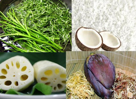Củ sen, rau muống rẻ, dừa, hoa chuối là những loại thực phẩm hay bị ngâm hóa chất tẩy trắng.