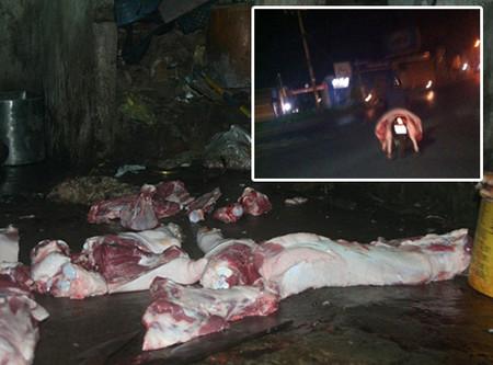 Thịt lợn được giết mổ trong điều kiện không đảm bảo vệ sinh