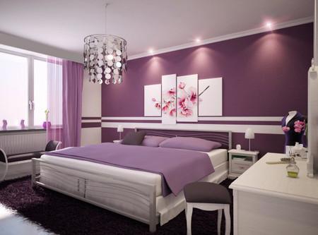 Lãng mạn, ngọt ngào cho phòng ngủ gam màu tím 1