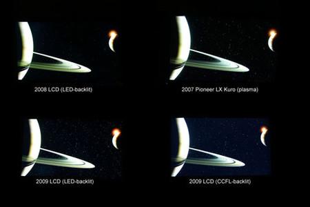So sánh mức hiển thị màu tối của LCD, LED và Plasma . Ảnh: xtremeplace