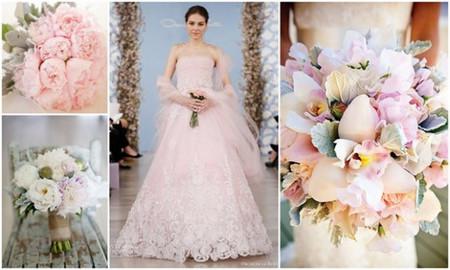 Hoa cưới cầm tay cho áo màu hồng da 1