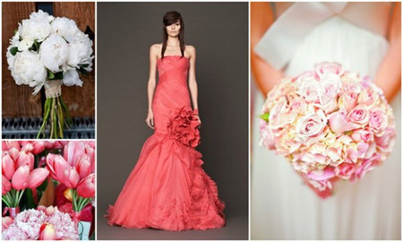Chọn hoa cưới cho váy màu hồng san hô 1