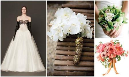 Chọn hoa cầm tay cho váy màu đen – trắng 1