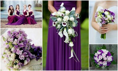 Bó hoa cưới cho váy màu tím 1