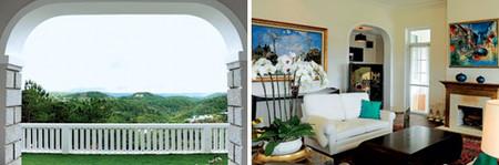 Góc nhìn ra thung lũng đẹp nhất Đà Lạt (trái) và phòng khách (phải).