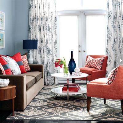 Phòng khách mùa đông ấm áp với gam màu đỏ 11