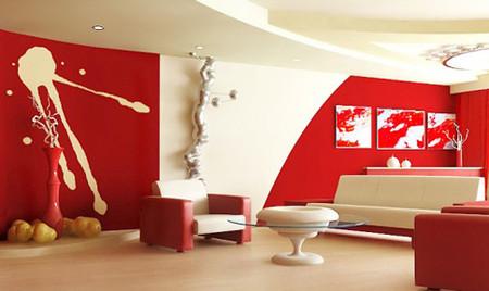 Phòng khách mùa đông ấm áp với gam màu đỏ 2