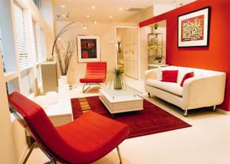 Phòng khách mùa đông ấm áp với gam màu đỏ 3