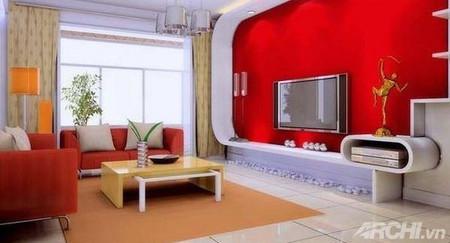 Phòng khách mùa đông ấm áp với gam màu đỏ 4