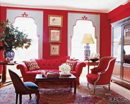 Phòng khách mùa đông ấm áp với gam màu đỏ 5